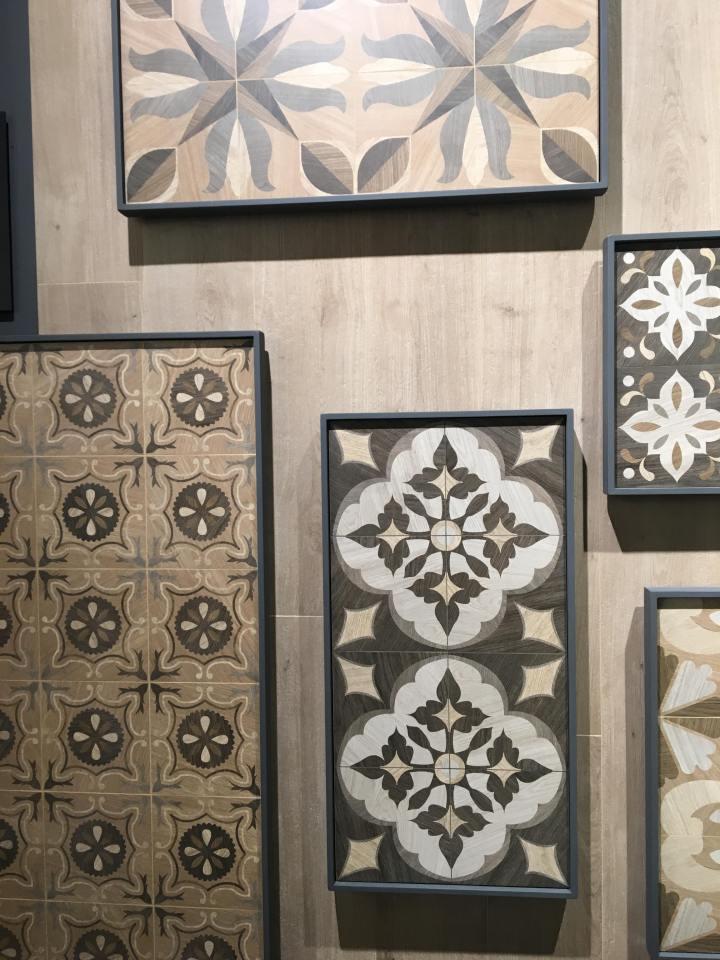 cersaie wood effect tiles inlaid trend