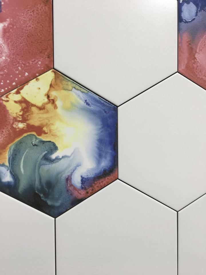 tie dye galaxy hexagon tile codicer cersaie 2019