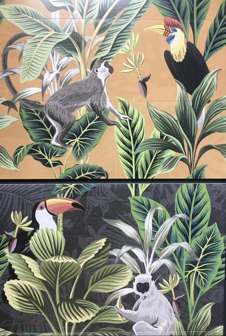 APE Grupo Cersaie tile Silk Collection Decor Set (3) Toucan Ocre and Graphite (400x1200mm)