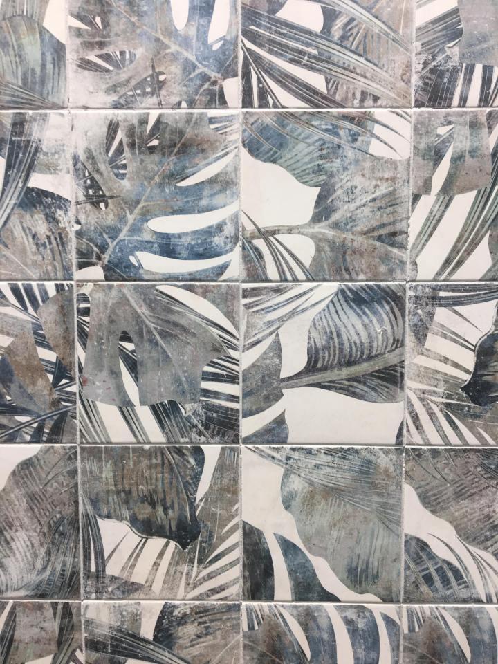 jungle print small format tile Affiniti Amalfi Grey (200x200mm)