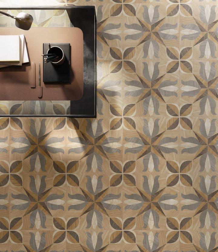 inlaid wood effect tiles sant'agostino cersaie 2019
