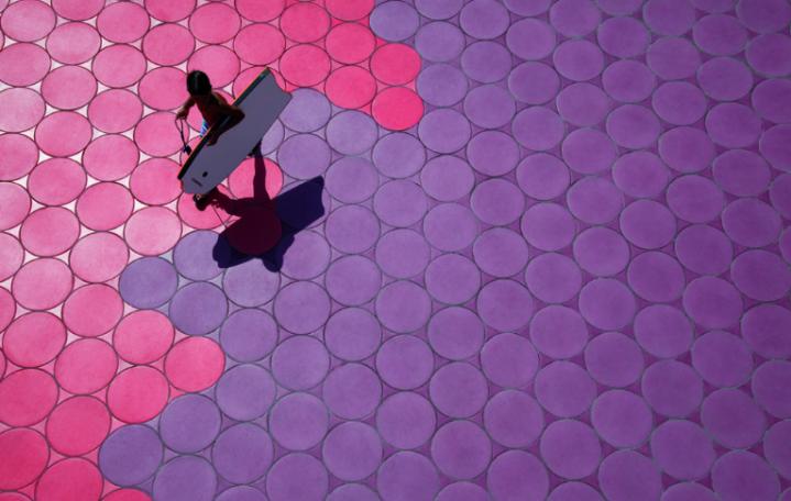 Benidorm colourful tiles walkway