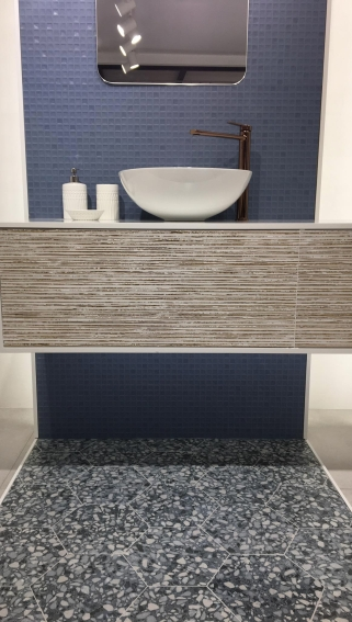 Japandi Kayachi Blue and Six Terrazzo Blue from Durstone tile trend 2020