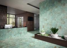 Zinc green mix decor hexagon from Apavisa metal look tiles 2020